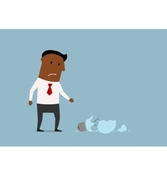 Unhappy businessman with broken idea vector image