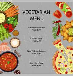 Vegetarian restaurant menu vector