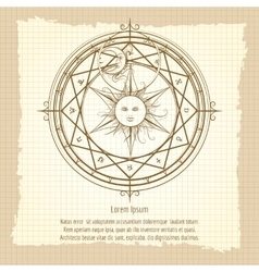 Vintage alchemy magic circle vector