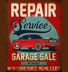 Vintage classic car repair service tee graphic vector