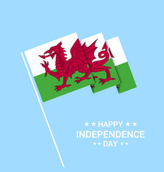 Wales independence day typographic design with vector