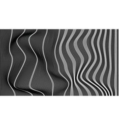 Wave vertical abstract lines black and white vector