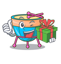 With gift cartoon timpani in the studio music vector