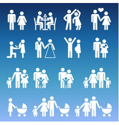 Young family life pictograms - white parents and vector