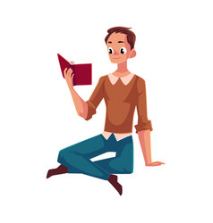 young man boy reading book sitting on the floor vector image