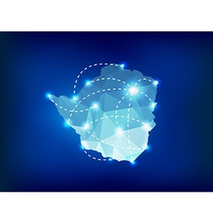 Zimbabwe country map polygonal with spot lights vector