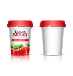 a plastic cup with lid for dairy products paper vector image