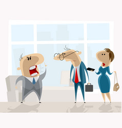 angry boss and employees vector image