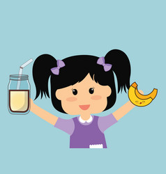 cute girl holding milk and banana vector image