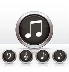 Set buttons with music note icon vector image vector image