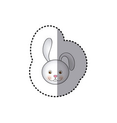 small sticker colorful picture face cute rabbit vector image vector image