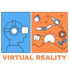 Virtual reality icon men with glasses and headset vector image