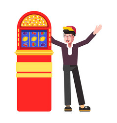 winner happy man at slot machine jackpot vector image