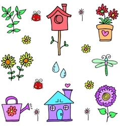 Doodle of spring colorful set vector