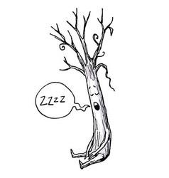 Sleeping Tree Cartoon vector image vector image