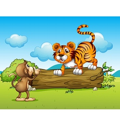 A monkey and a tiger vector image vector image
