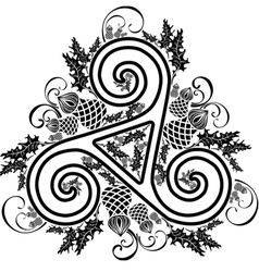 black and white image Celtic triad with flowers of vector image