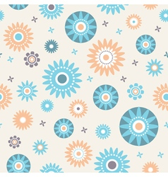 Decoratiive stars and flowers seamless pattern vector image