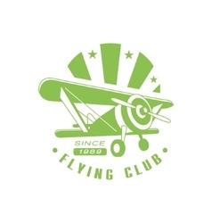 Flying Club Green Emblem Design vector image vector image
