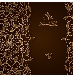 Invitation with gold lace floral ornament vector image vector image