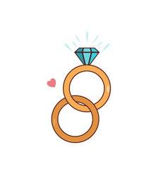 Isolated cartoon diamond wedding ring vector image vector image