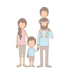 Light color caricature faceless family parents vector