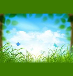 Spring landscape with clouds vector image vector image