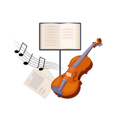 violin and musical notebook set of school and vector image