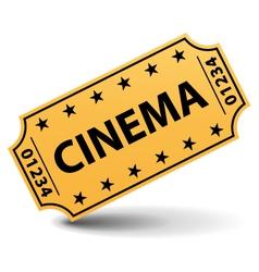 Yellow cinema ticket vector image vector image