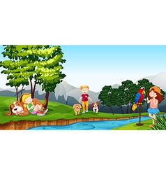 Children playing by the river vector image