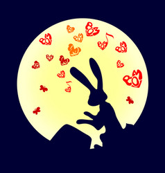 cute funny animal rabbit is a hare pounding the vector image
