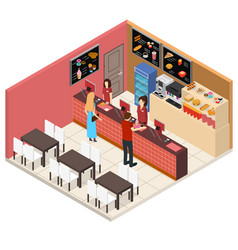 interior fast food restaurant isometric view vector image