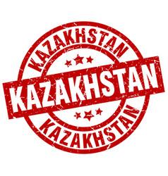 kazakhstan red round grunge stamp vector image vector image