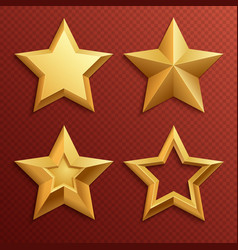 realistic metal golden stars isolated for rating vector image vector image