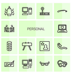 14 personal icons vector image