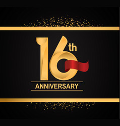 16 years anniversary logotype with premium gold vector