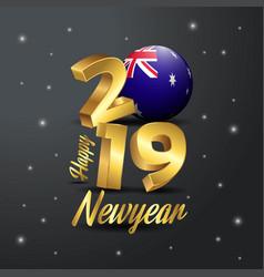 2019 happy new year australia flag typography vector