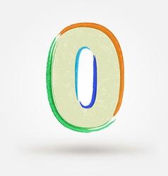 Alphabet letter number zero Watercolor paint vector