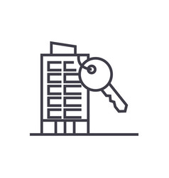 Apartment house with key line icon sign vector