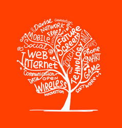 Art tree concept with internet technology tags vector