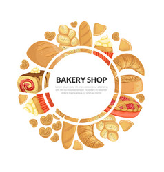 Bakery shop banner template with fresh baking vector