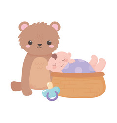 Bashower little boy in basket with teddy bear vector