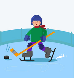 boy playing ice hockey vector image