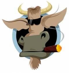 Bull and cigar vector