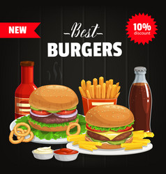 burgers and combo snacks fast food poster vector image