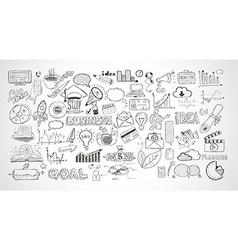 Business doodles sketch set infographics elements vector