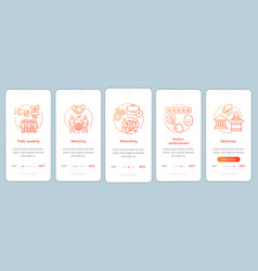 Business soft skills onboarding mobile app page vector