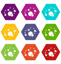 butane icons set 9 vector image