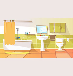 Cartoon bathroom interior background vector