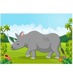 Cartoon happy rhinoceros vector